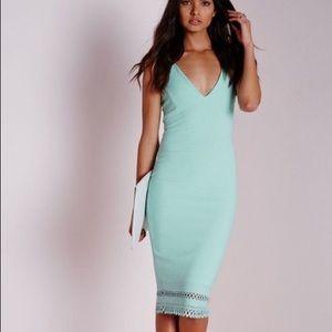 Missguided strappy mint green midi dress